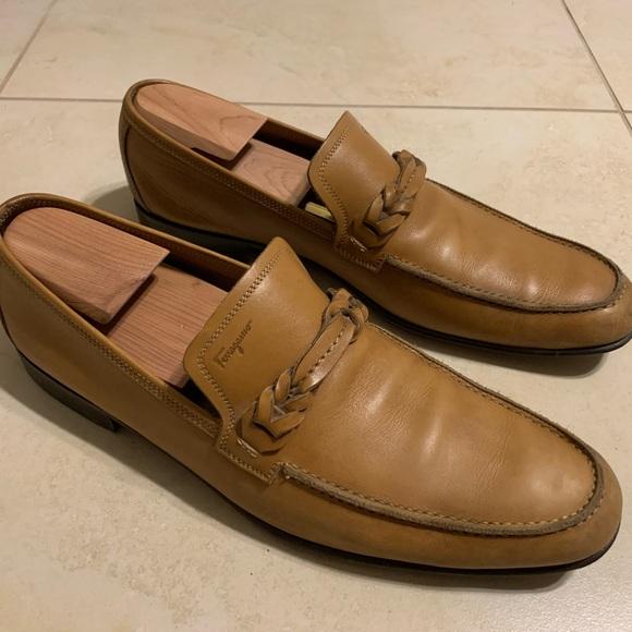 Salvatore Ferragamo Prato Loafers Tan Leather 10 D